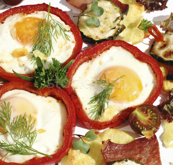 Meze yumurta jambon sebze yeşil Stok fotoğraf © Makse