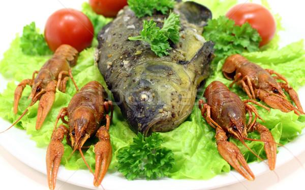 Balık yemek füme gıda kırmızı plaka Stok fotoğraf © Makse