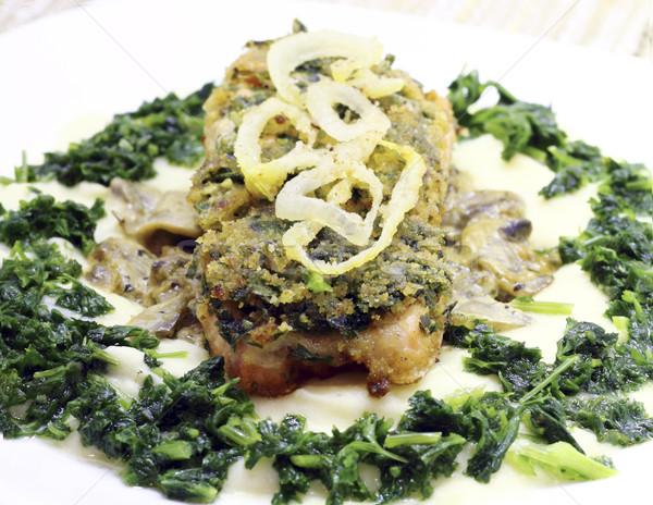 Salmón frito setas papa al vapor perejil Foto stock © Makse
