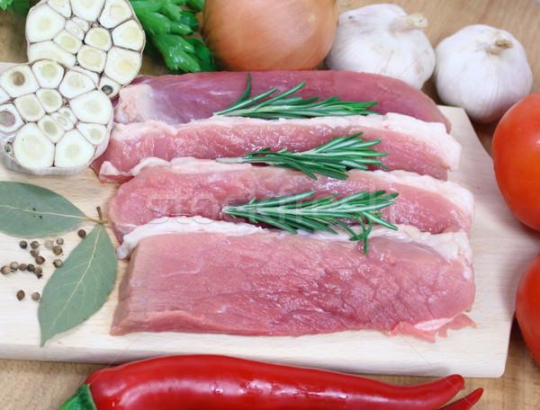 Cut свинина частей подготовленный древесины кухне Сток-фото © Makse