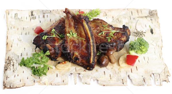 Picante cerdo a la parrilla setas hierbas Foto stock © Makse