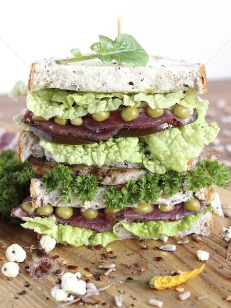 Büyük sandviç sebze jambon ekmek tohumları Stok fotoğraf © Makse