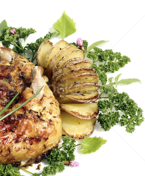 Tavuk kızartma patates plaka gıda kuş Stok fotoğraf © Makse