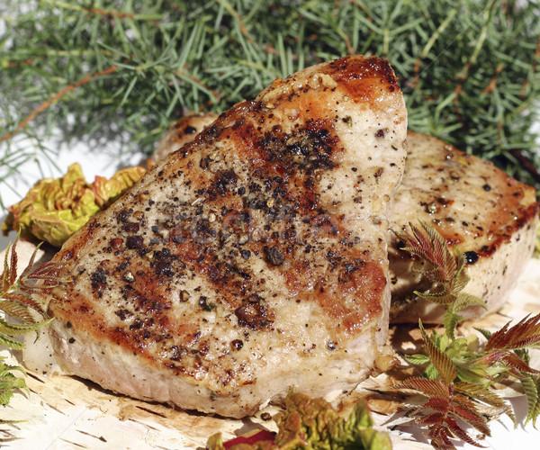 ızgara domuz eti lezzetli yeşil pişirme Stok fotoğraf © Makse