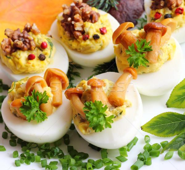 Doldurulmuş yumurta yumurta sarısı soğan Stok fotoğraf © Makse