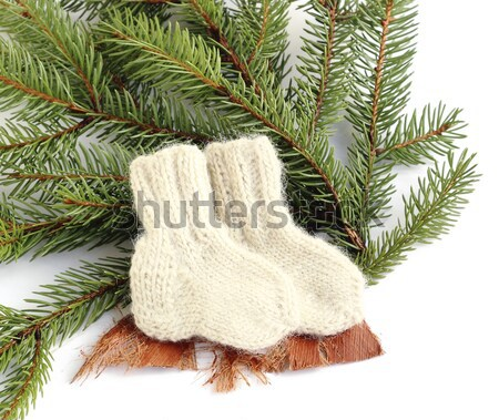 Baby gebreid wollen sokken sparren Stockfoto © Makse