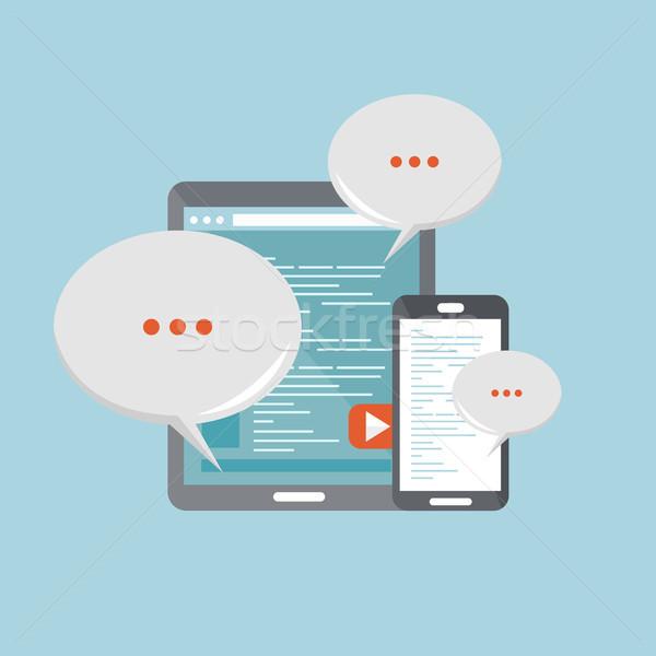 Mobile communications concept. Flat vector illustration Stock photo © makyzz