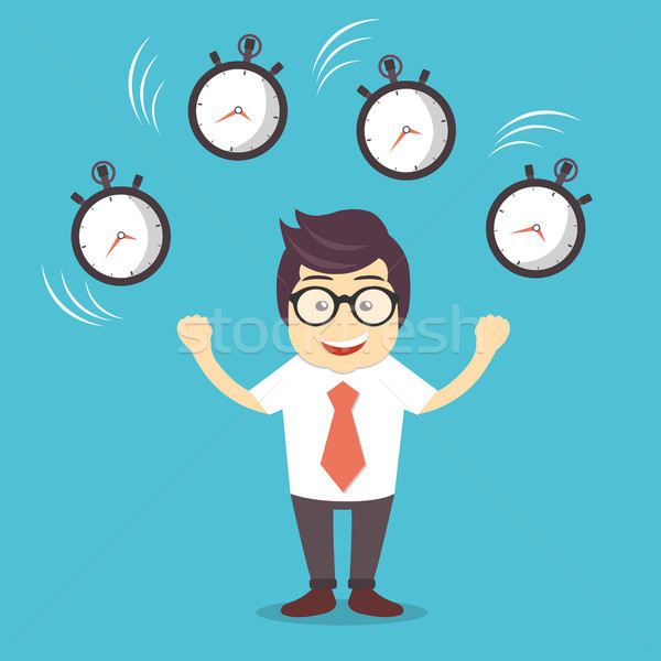 Smiling cartoon businessman juggling with alarm clocks, symbolizing time management Stock photo © makyzz
