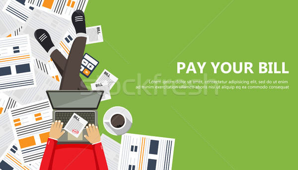 Bill payment design in flat style. Paying bills concept. Man sitting on the floor with lap top and p Stock photo © makyzz