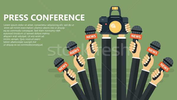 Microphones in reporter hands. Set of microphones and camera isolated on green background. Mass medi Stock photo © makyzz