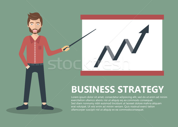 Businessman presenting development and financial planning on meeting conference. Flat vector illustr Stock photo © makyzz