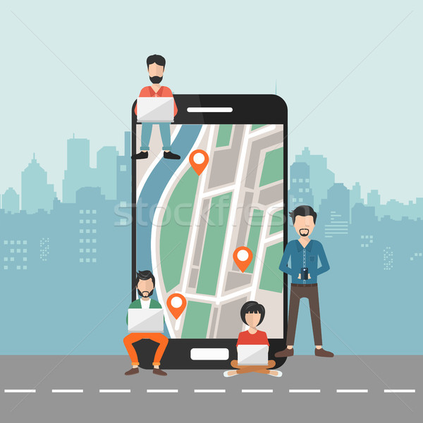 Smart phone navigation, mobile global positioning system and tracking concept: location track app on Stock photo © makyzz