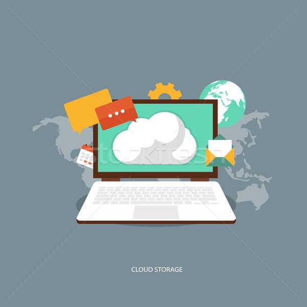 Chmura przechowywania działalności komputera sieci komórkowych Zdjęcia stock © makyzz