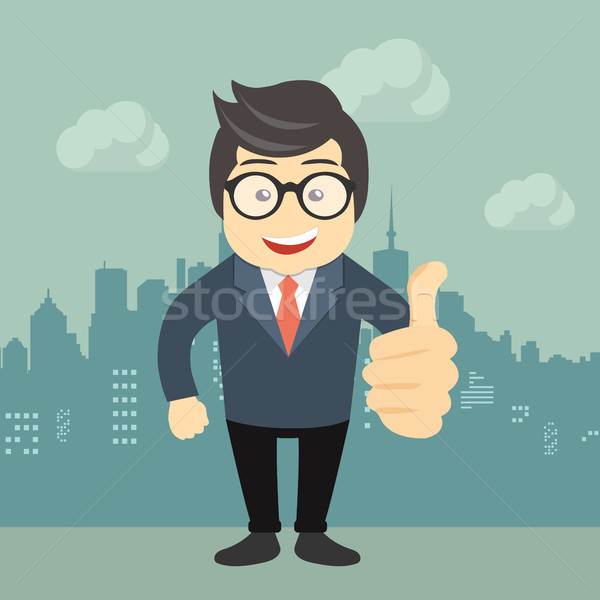 Happy businessman making thumbs up sign. Flat vector illustration Stock photo © makyzz