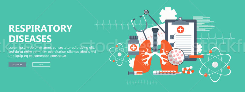 Respiratory diseases banner. Flat vector illustration Stock photo © makyzz