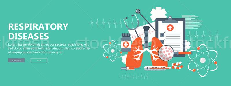 дыхательный баннер здоровья медицина исследование белый Сток-фото © makyzz