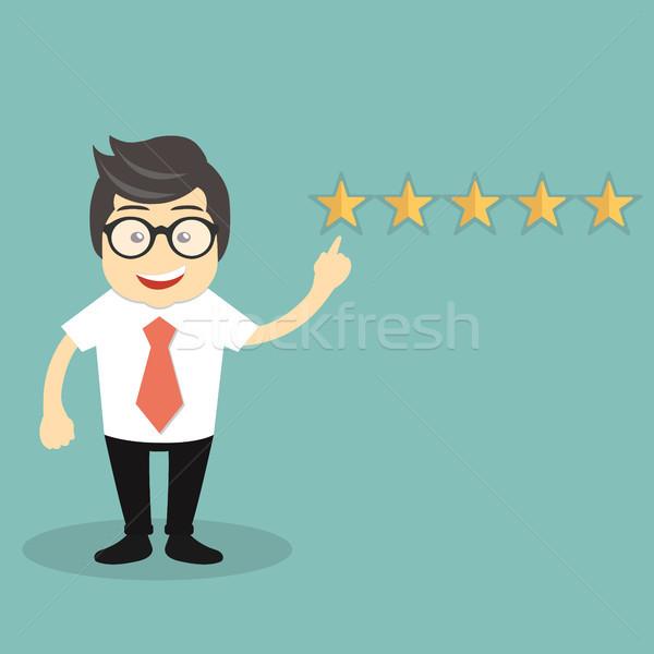 ügyfélszolgálat illusztráció férfi mutat öt csillagok Stock fotó © makyzz
