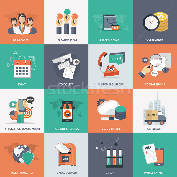 Business, technology and management icon set for websites and mobile applications. Flat vector illus Stock photo © makyzz