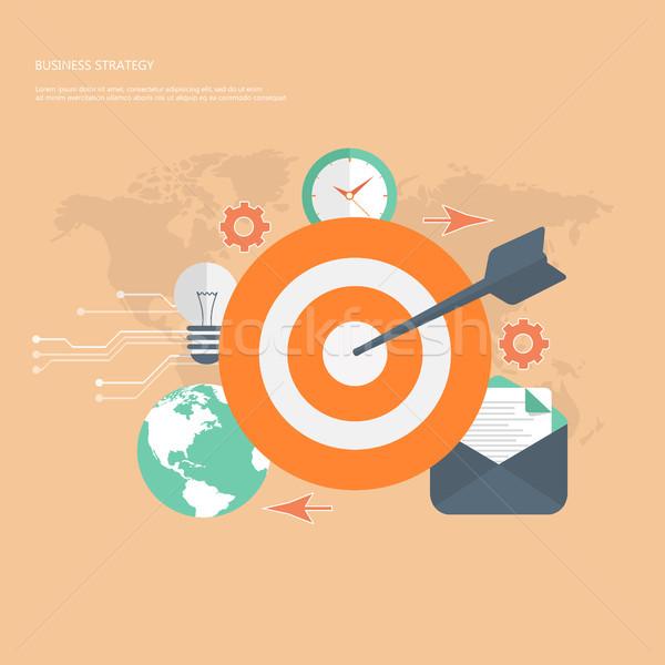 Strategia biznesowa kolorowy projektu ikona świecie technologii Zdjęcia stock © makyzz
