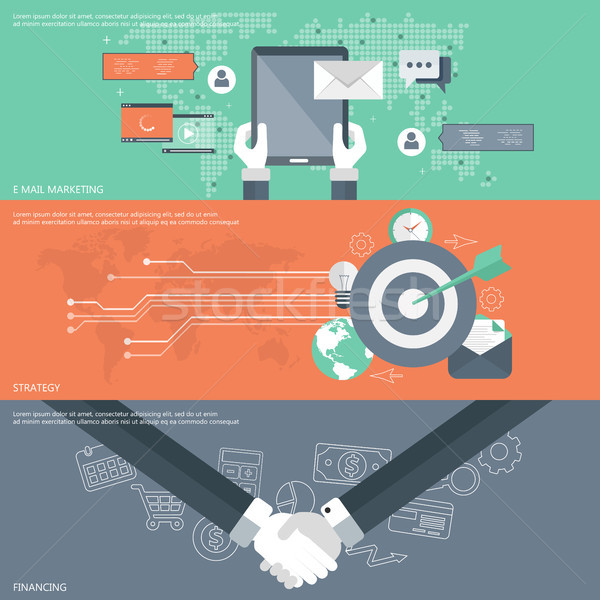 Set of flat design vector illustration concepts for e mail marketing, business strategy and financin Stock photo © makyzz
