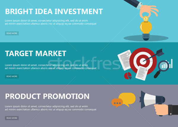 Flat design concepts for market in flat design for web banners and promotional materials.  Stock photo © makyzz
