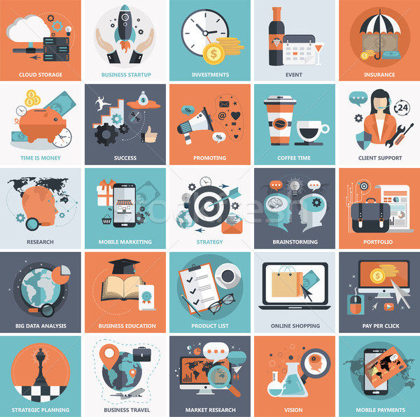 Set of flat design icons for business, pay per click, creative process, searching, web analysis, tim Stock photo © makyzz
