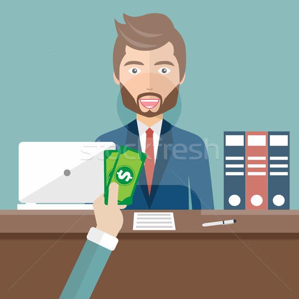 Bank teller sitting behind glass. Man clerk in a bank office receiving money. Flat vector illustrati Stock photo © makyzz