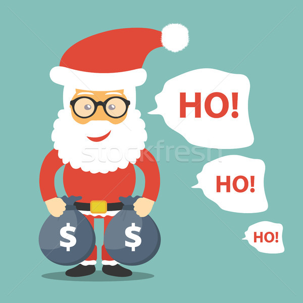 Santa Claus standing with money bags in his hands icon. Ho ho ho text next to Santa. Christmas card. Stock photo © makyzz