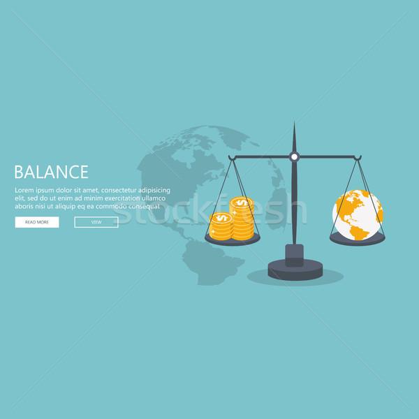 Wereld wereldbol schaal goud dollar munten Stockfoto © makyzz