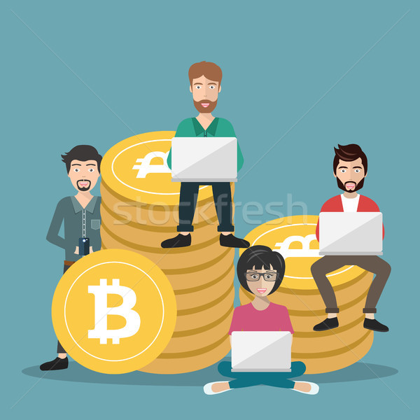 Bitcoin jovens usando laptop on-line Foto stock © makyzz