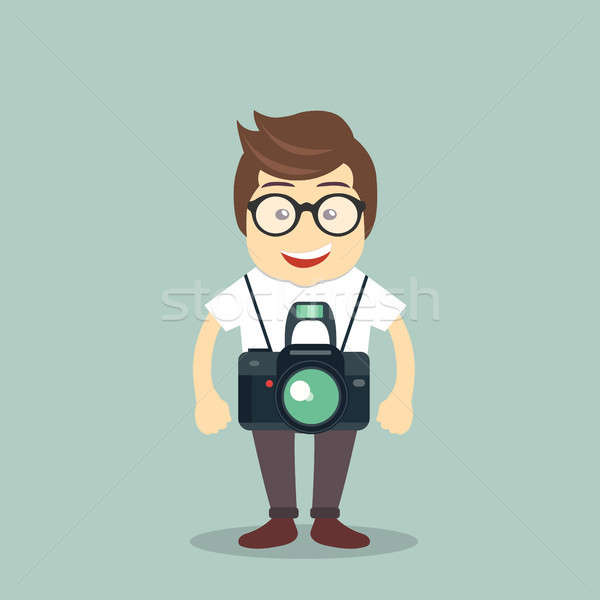 Fotograaf icon man permanente camera werk Stockfoto © makyzz