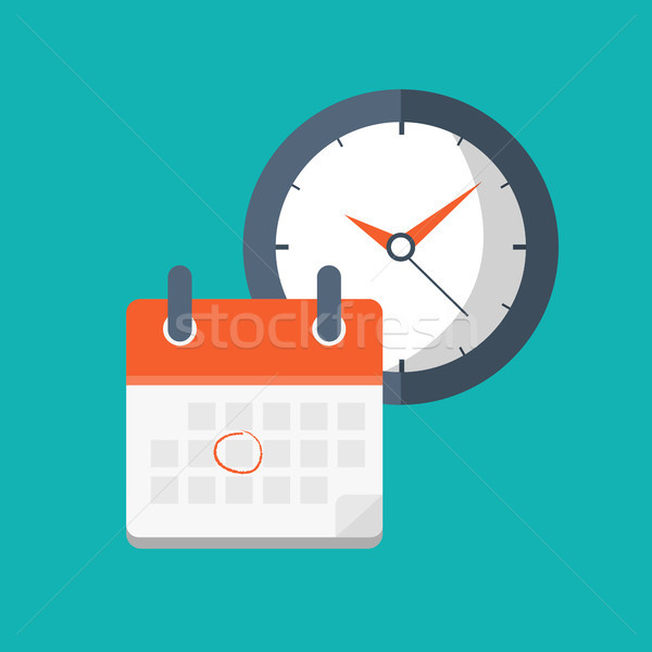 Calendar and clock icon. Schedule, appointment, important date concept. Flat vector illustration Stock photo © makyzz