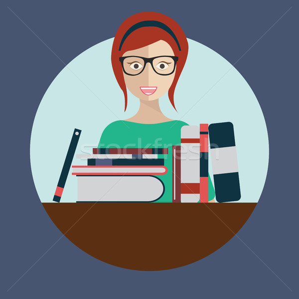 Kütüphaneci kadın kitaplar vektör gözlük işçi Stok fotoğraf © makyzz
