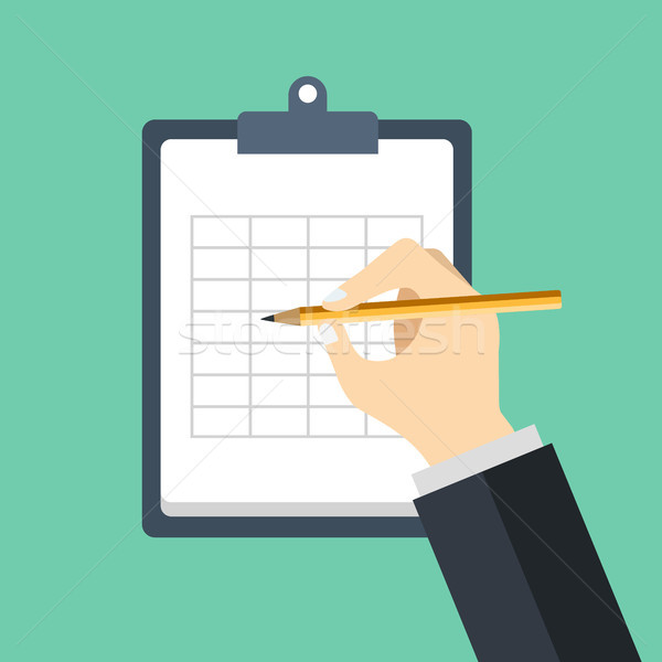 Hand of a businessman. Sign a contract. Signing agreement. Business concept in flat vector design. Stock photo © makyzz
