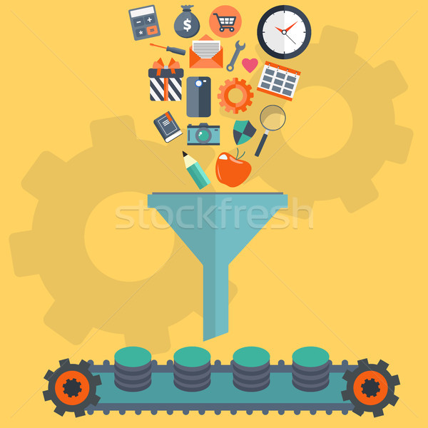 Concepts for creative process, big data filter, data tunnel and analysis. Flat vector illustration Stock photo © makyzz