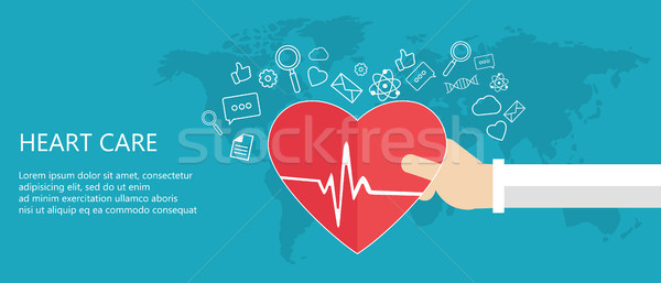 Heart care concept. Medicine and health care icon. Hands holding heart with pulse sign. Flat vector  Stock photo © makyzz