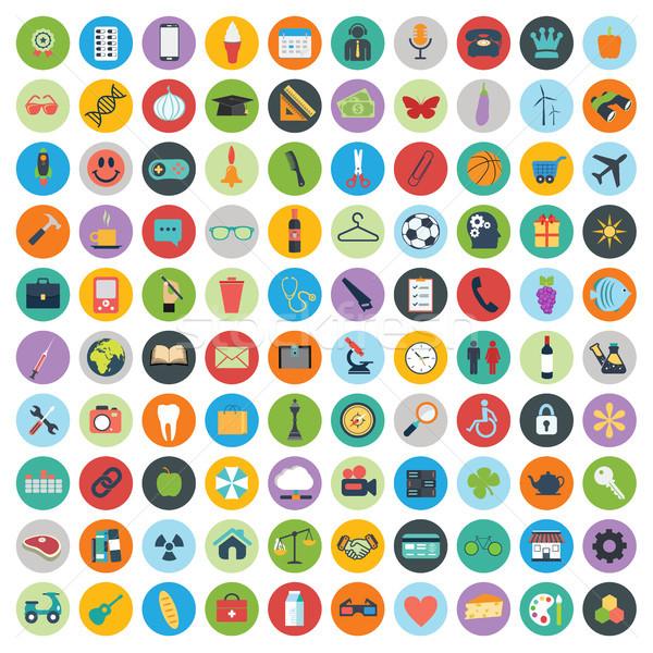 Ikona projektu nowoczesne duży zestaw internetowych Zdjęcia stock © makyzz