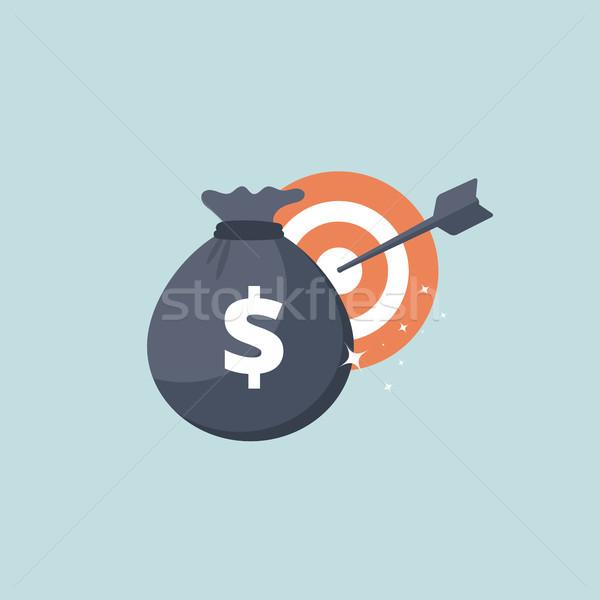 Money bag and target icon. Flat vector illustration Stock photo © makyzz