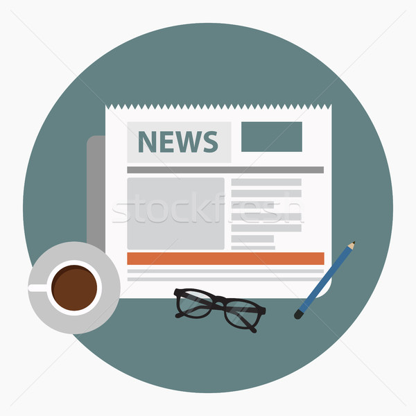 News concept. Newspaper with coffee, glasses and pencil. Flat vector. Stock photo © makyzz