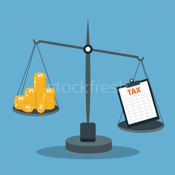 Stock photo: Business concept balancing with income and tax. Flat vector illustration