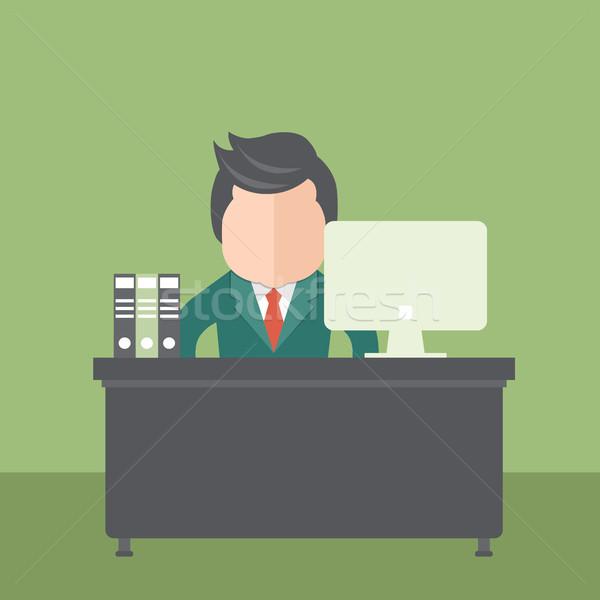 Biznesmen posiedzenia biuro działalności człowiek pracy Zdjęcia stock © makyzz