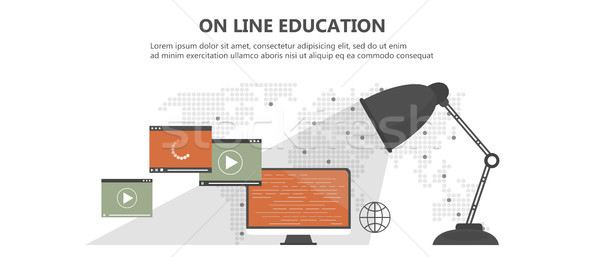 Education, training, on line tutorial, e-learning concept. Laptop with video on line training on the Stock photo © makyzz