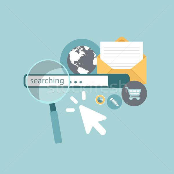 Zoekmachine marketing krant wereld teken baan Stockfoto © makyzz
