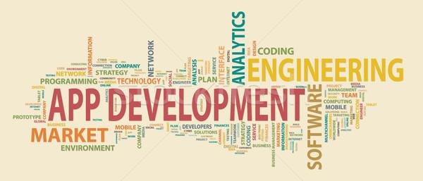 Aplikacja rozwoju banner budynku udany działalności Zdjęcia stock © makyzz