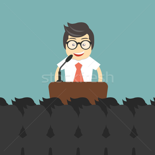 Businessman giving a presentation in front of many people. Press conference concept. Flat vector ill Stock photo © makyzz
