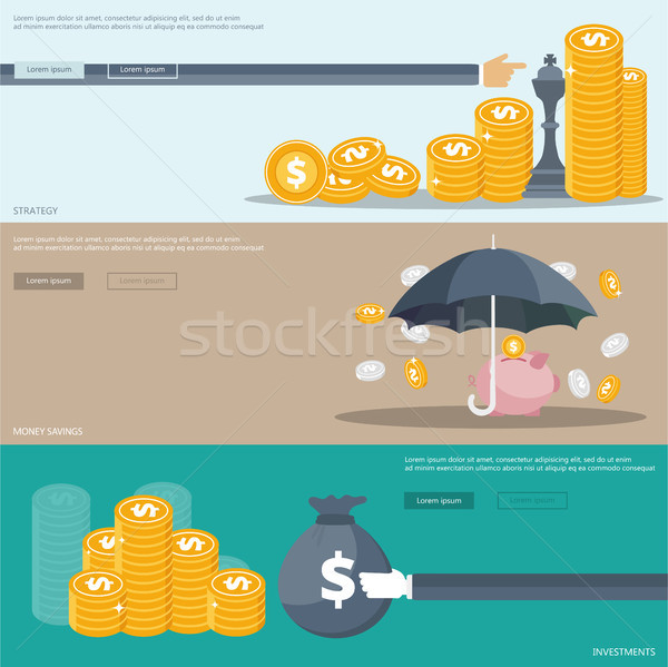 Strategy, investments and money savings banners for websites and mobile applications. Flat vector il Stock photo © makyzz
