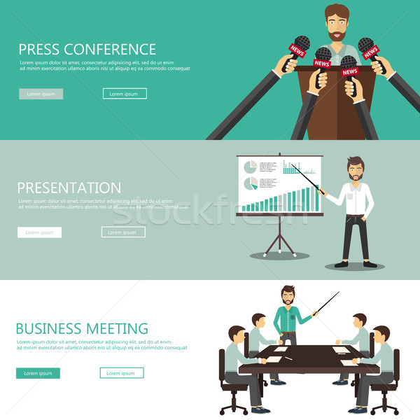 Press conference, business presentation and business meeting website banners. Flat vector illustrati Stock photo © makyzz