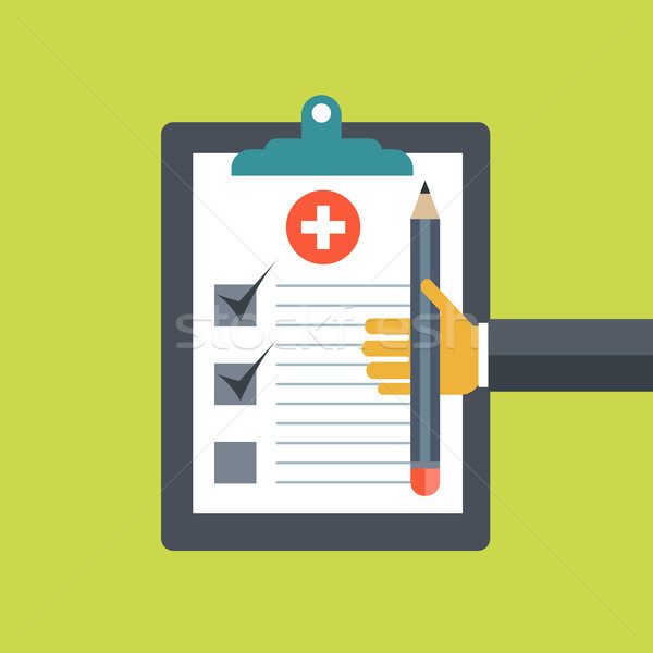 Stock photo: Medical diagnosis concept. Medicine and healthcare. Medical document and pencil. Flat vector illustr