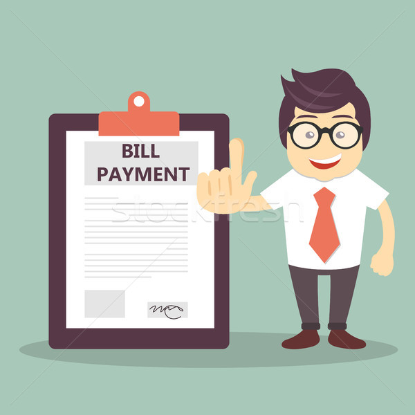 Businessman stand beside huge bill payment document Stock photo © makyzz