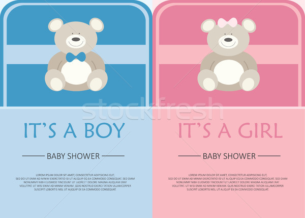 Baby shower celebration greeting and invitation card. Layout template. Vector illustration. Text can Stock photo © makyzz